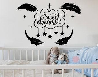 Nursery Wall Decal Sweet Dreams Vinyl Sticker Decals Clouds Star Decor Kids Room Childrens Nursery Bedroom Home Decor Art C661