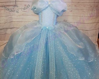 Blue princess inspired tutu dress costume party ball gown cinderella inspired