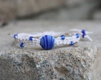 Blue and white bracelet, hemp bracelet, white bracelet, bracelet