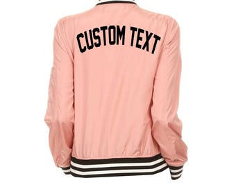 WOMENS CUSTOM Pink Varsity Bomber Jacket- Long Sleeve Zip Up Light Pink Varsity Sports Jacket- Lightweight Bomber- Customize Varsity Jacket