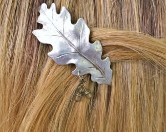 Leaf Hair Barrette, Oak leaf with acorn French Barrette small