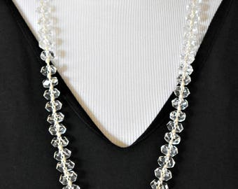Vintage Crystal Beaded Statement Necklace Knotted Rope Retro Costume Jewelry 30""