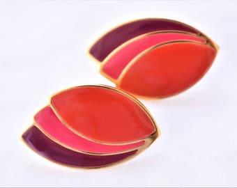"Vintage 80s Geometric Leaf Enamel Statement Earrings Clip On Pink Purple Multi Color Retro Costume Estate Jewelry 1.5"""