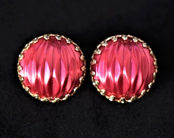 Vintage Ornate Round Earrings Pink Marked Japan Retro Mid Century Retro Jewelry .75""