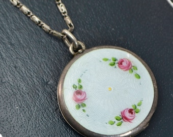 Fine Antique SOLID SILVER Duck Egg Guilloche Enamel Roses LOCKET & Unusual Chain