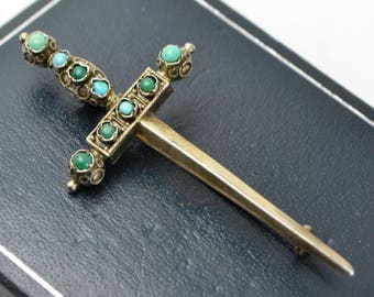 Antique Solid SILVER GILT & Persian Turquoise SWORD Brooch / Pin --- Austro Hungarian?