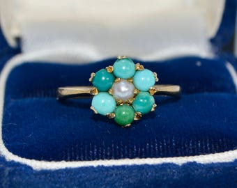 1965 Vintage 9k GOLD, Turquoise & Pearl Flower Cluster London Designer RING - Sz N (Us 6.75)