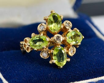 Vintage 9ct GOLD, Peridot & Diamond Tudor Style Cluster Statement RING - Sz K (Us 5.25)