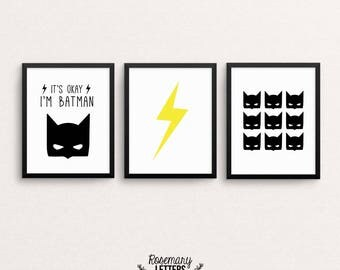 Beau Batman Print Superhero Print, Batman Decor Batman Wall Art, Iu0027m Batman,