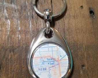 Double Sided Yankon SD Key Fob, South Dakota Keychain, Lewis and Clark, Map Keychain