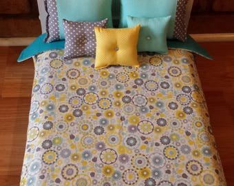"""Handmade -6-PC-bedding set Mini Floral inspired for American girl doll or any 18"""" dolls bed"""