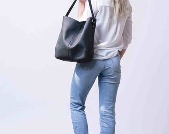 Black Leather Tote, Black Bag made of Leather, Black Tote