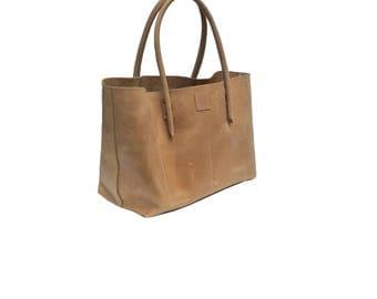Beige leather bag/Ledershopper/leather bag shopper leather natural beige vintage design, used look leather, large shopper leather bag handmade