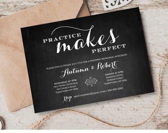 Printable Rehearsal Dinner Invitation INSTANT Digital Download Chalkboard Wedding Invite Template Editable