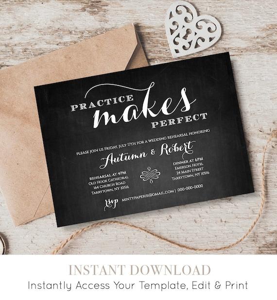 Printable Rehearsal Dinner Invitation, INSTANT Digital Download, Chalkboard Wedding Rehearsal Invite Template, Editable Template #NC-202RD