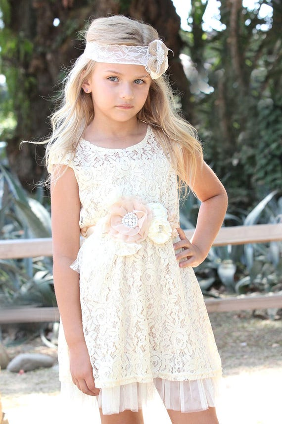 Zoe Dress- Lace Flower Girl dress Set - Flower Girl Dress Set-Champagne flower girl dress & Sash Belt-Rustic Girls Dress-Junior Bridesmaid