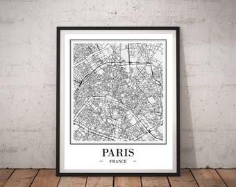 Paris Map Print DIGITAL DOWNLOAD Paris City Map of Paris Print Paris Poster Paris France Paris Map Art Paris Map Poster Paris Wall Map Decor
