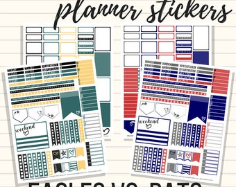 Superbowl Planner Stickers - Eagles and Patriots Kits, Printable Sticker Kit, Sized for Classic Happy Planner, 2018
