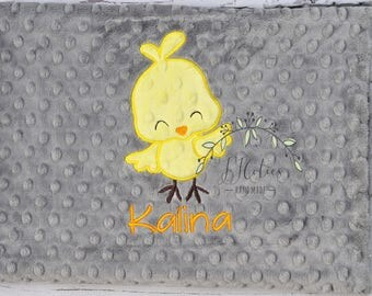 Baby Blanket Personalized chick-tweetie bird Baby Minky Blanket-Girl tweetie Blanket-Personalized Baby Blanket Girl-Chick Minky Baby Blanket