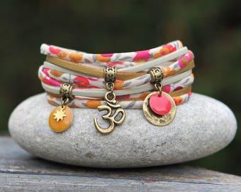 Cuff bracelet liberty wiltshire tea neon, bracelet two laps, aum, Indian bracelet bracelet, Sun bracelet