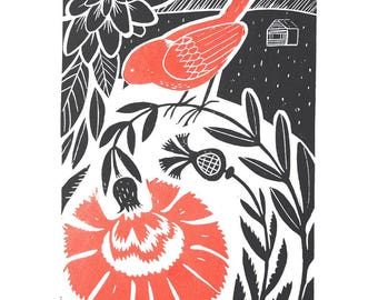 "Original Linocut print ""Garden"" Scandinavian folk art inspired, unframed wall poster, Limited edition, handmade by Alexandra Dvornikova"