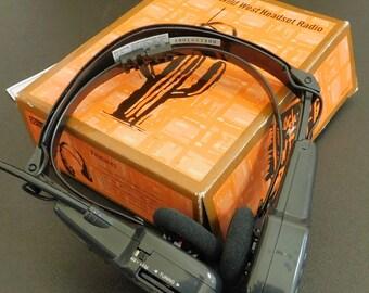 Vintage Working Headset Radio, Amoco, Wild Wild West AM FM Battery Headphone, Will Smith, Kevin Kline, Movie Promotion, Gasoline Memorabilia