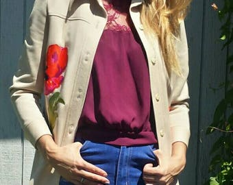 Tan Floral Jacket/Blazer From The 70's/Vintage Alex Garay/70s jacket/womens 70s jacket/floral jacket/button up jacket/vintage jacket