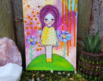 Inspirational art - motivational art - whimsical girl artwork - girl illustration - Nursery art - Happy art - Spiritual art - Original