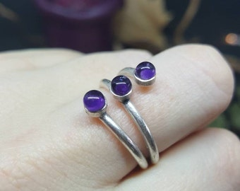 Ring Triple Amethyst ring - silver - triple - gems - healing - nature - Bohemian - romantic - Valentine's day
