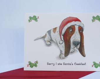 Dog Christmas Card. Basset Hound. Sorry I ate Santa's Cookies
