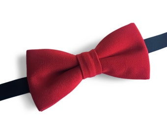 "Red Pre Tied Bow Tie ""Dawes"", Best Handmade Gift for Man, Weddings, Birthday, Valentines Day"