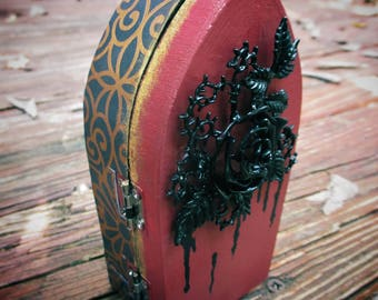 Small, One of a Kind, Spooky-Cute, Black Rose, Dripping Thorns, Coffin Casket Jewelry Stash Box