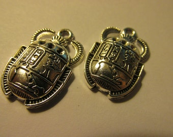 "Silver Tone Egyptian Scarab-Beetle Charms, 1"", Set of 2"