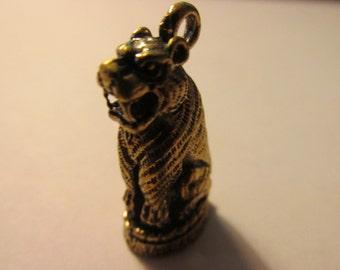 Brass Sitting Tiger Mini Figurine-Statuette-Amulet-Pendant, 30mm
