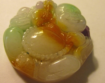 Tri-Color Jade Pendant of Hotei Laughing Budha, 1 3/4""