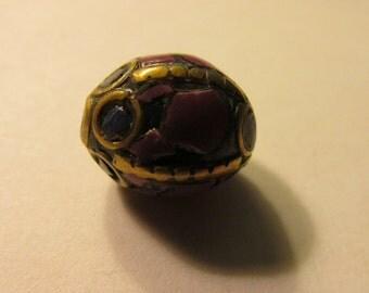 "Handmade Tibetan-Nepalese Purple Lapis Round Oval Brass Bead, 1/2"""