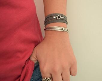 Bohemian Silver SNAKE Wrap Bracelet, Summer Serpentine Wrap Bracelet, Hippie Style Jewelry, 3 Times Wrap Bracelet, US 6.5-8 inch wrist sizes
