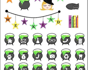 Halloween Witch Planner Stickers | Weekly Planner Sticker Kit | Halloween Stickers