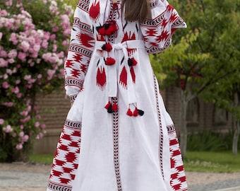 Women linen embroidered dress vyshyvanka white linen Ukrainian vyshyvanka dress mexican dress Abaya, Caftan. Free Shipping Boho style
