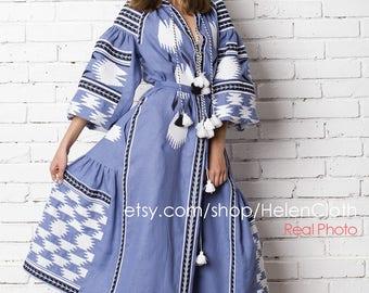 Blue Linen Embroidered Vyshyvanka Dress Ukrainian Birds Dress Vyshyvanka Dress Geometric Pattern Kaftan Abaya Free Shipping