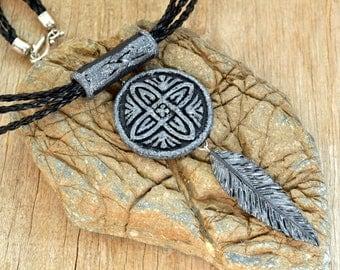 Celtic necklace Inspirational women gift for her Celtic pendant Celtic jewelry Boho necklace Boho jewelry Feather necklace Feather jewelry