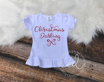 Girls Christmas Shirt - Christmas Darling Shirt - Christmas Shirt - Christmas Outfit - Girls Christmas Shirt - Sparkle Christmas Shirt