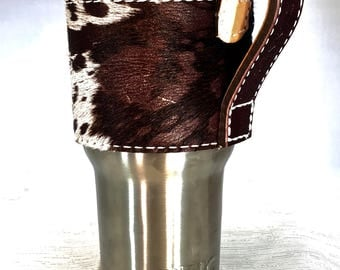Brown Cowhide Yeti Cup Sleeve w/ Handle