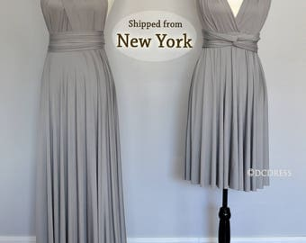 Silver Gray Bridesmaid dress, infinity dress long, convertible dress, party dress, prom dress, multiway dress, convertible bridesmaid dress
