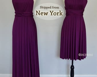 Plum Bridesmaid Dresses, infinity dress, gown, convertible dress, maternity dress, bridesmaid gown, party dress, Wedding Dress formal