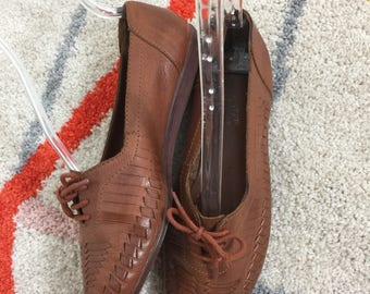 Vtg 80s brown leather woven lace up flats shoes brazil 8