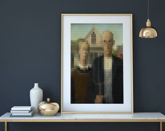 American Gothic - Unique creation in limited edition - Modern glitch art - Professional shipping & fast delivery - Free shipping !