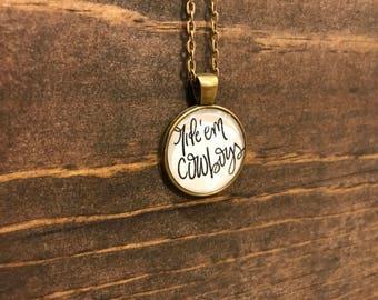 "Oklahoma State University ""Ride 'Em Cowboys"" Bezel Pendant Necklace Antique Bronze Handmade Jewelry OK State Cowboys Fan Gift"