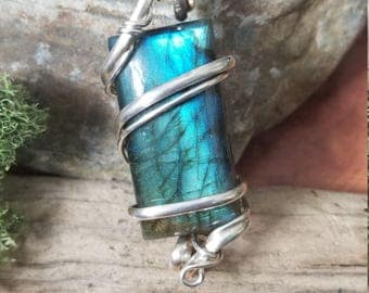 Blue silver labradorite wire wrapped pendant necklace, wire wrapped jewelry, handmade, wire wrapped labradorite