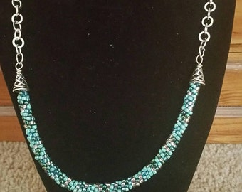 0240-Kumihimo aqua and Silver Necklace